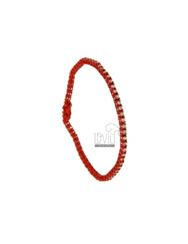 BRACCIALE TENNIS IN METALLO PLACCATO RED CM 18 CON ZIRCONI MM 2 BIANCHI
