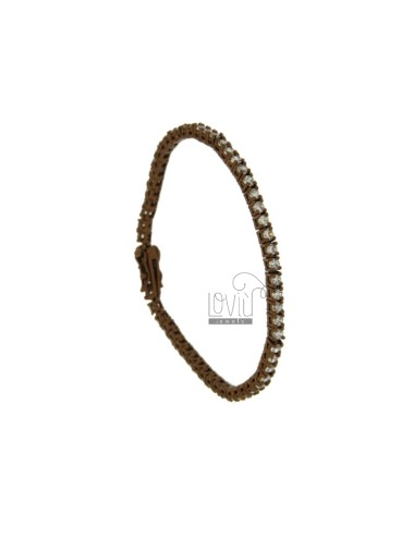 BRACCIALE TENNIS IN METALLO PLACCATO BROWN CM 18 CON ZIRCONI MM 2,5 BIANCHI