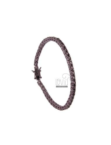 TENNIS BRACELET IN METAL PLATED VIOLET CM 18 MM WITH ZIRCONIA 3 COLOR PURPLE
