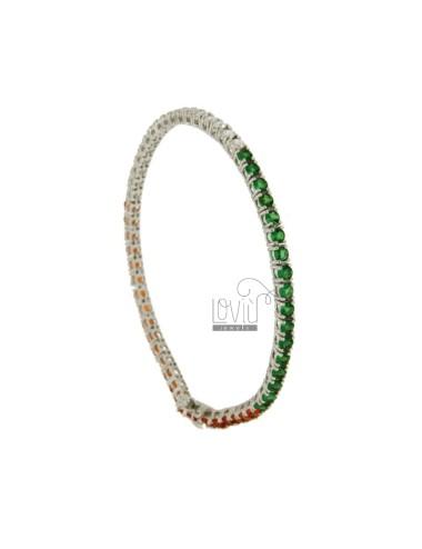 TENNIS BRACELET IN METAL RHODIUM PLATED 21 CM WITH 3 MM ZIRCONIA WHITE ORANGE AND GREEN