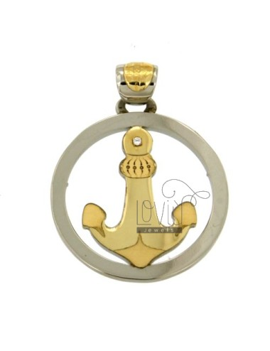 CHARM ROUND WITH STILL IN STEEL AND GOLD TIT.