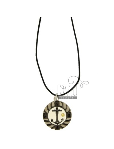 PENDANT STILL IN STEEL WITH ELEMENTS CLAD RUTENIO, ZIRCONIA BLACKS AND POINT Bilamina BRASS AND GOLD WITH LACE SILK CERATA
