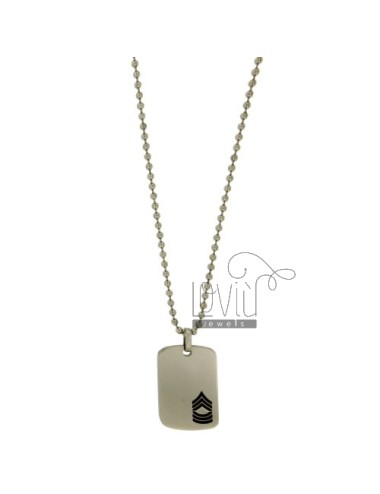 MEDAL MILITARY SERGEANT STEEL MM 35x23 WITH POLISH BLACK AND CHAIN BALLS MM 3 CM 60