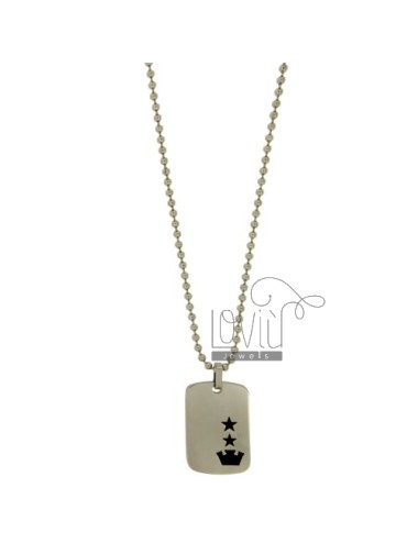 MILITARY MEDAL WITH TEN STEEL MM 35x23 WITH POLISH BLACK AND CHAIN BALLS MM 3 CM 60