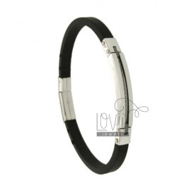 BRACELET RUBBER &39BLACK AND PLATE PLATED INSERTS WIRE STEEL