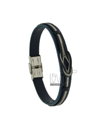 BRACELET RUBBER &39BLUE&39 AND CENTRAL NODE MARINARO WOVEN WITH STEEL WIRE