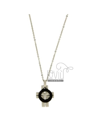 CROSS PENDANT STEEL 22x18 MM INSET CLAD RUTENIO CABLE AND CHAIN 50 CM