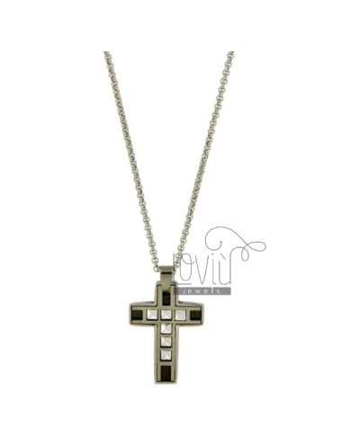 CROSS PENDANT STEEL 28x21 MM INSET CLAD RUTHENIUM AND CHAIN ROLO &39CM 50
