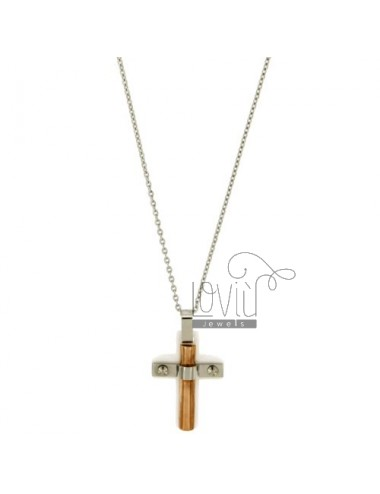 CROSS PENDANT STEEL AND WHITE CERAMIC WITH ROSE GOLD PLATED INSERTS MM 25x18 CHAIN CABLE 50 CM