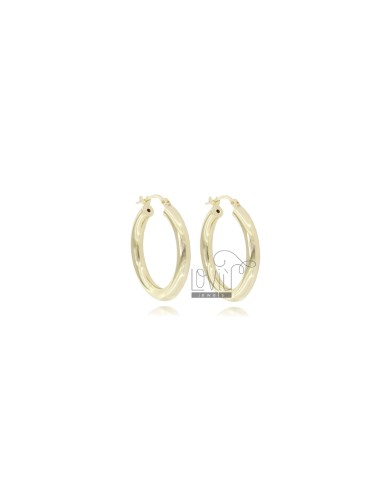 EARRINGS A CIRCLE 16 MM A ROUND ROD MM 3 SILVER GOLDEN TIT 925 ‰