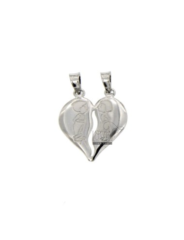 PENDANT HEART DIVIDED WITH CHILDREN GLAZED MM 21X18 SILVER RHODIUM TIT 925