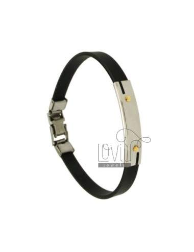 BRACELET RUBBER &39BLACK WITH PLATE.THROUGH PISTON EXTERNAL STEEL WITH Vitine Bilamina IN BRASS AND GOLD