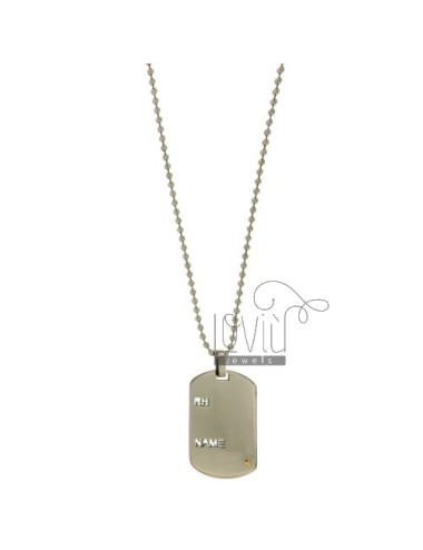 CHAIN MILITARY 2 CM 60 MM WITH STEEL PLATE MM 40x23 RH.NAME WITH DOT BRASS