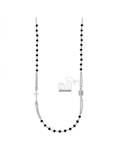 ROSARY NECKLACE TO TOUR WITH BLACK STONES IN TIT SILVER 925 CM 50