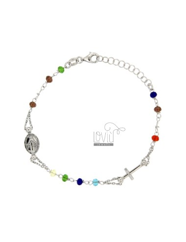 ROSARY BRACELET WITH STONES MULTICOLOR SILVER TIT 925 CM 17.19