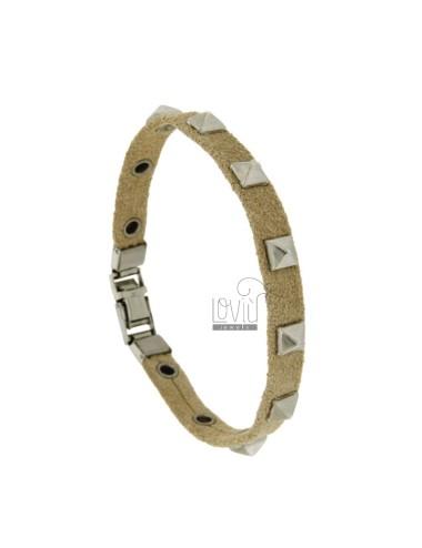 Leather bracelet with studs...