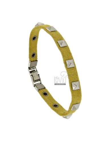Bracelet in yellow leather...