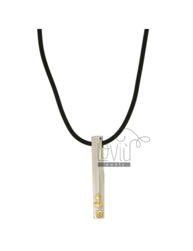 PENDANT IN STEEL AND STILL POINT Bilamina BRASS AND GOLD WITH LACE SILK CERATA