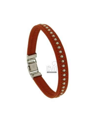 Leather bracelet orange 10...