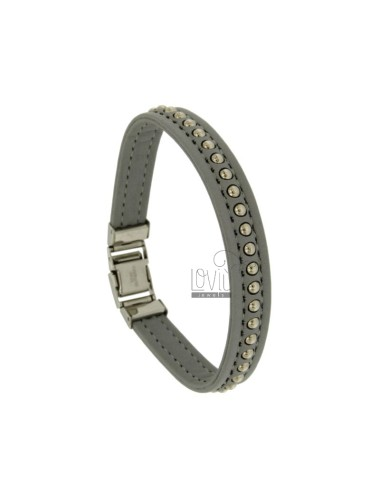 Bracelet grey leather mm...