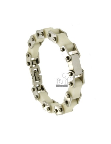 BICYCLE CHAIN BRACELET 13 MM STEEL AND RUBBER &39WHITE