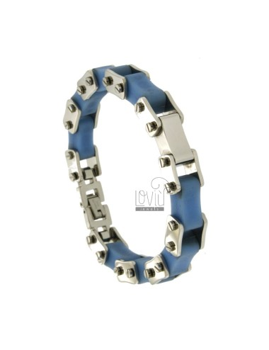 BICYCLE CHAIN BRACELET 13 MM STEEL AND RUBBER &39CELESTE