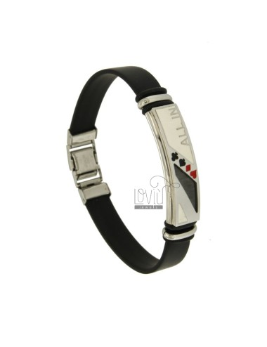 BRACELET RUBBER &39AND PLATE 11 MM STEEL AND GLAZE