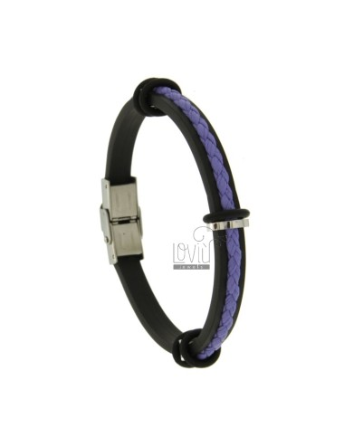 BRACELET RUBBER &39WITH LEATHER WOVEN WIRE PURPLE AND CLOSING IN STEEL