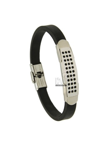 BRACELET RUBBER &39BLACK 8 MM WITH PLATE 11 MM STEEL