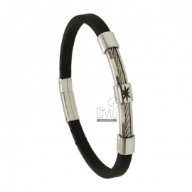 BRACELET STEEL AND RUBBER &395 MM WITH WIND ROSE SMALTATA