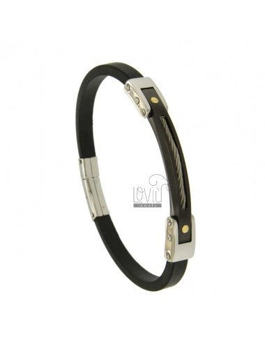 BRACELET RUBBER &39BLACK 5 MM WITH STEEL WIRE ROPE AND DOTS IN Bilamina BRASS AND GOLD