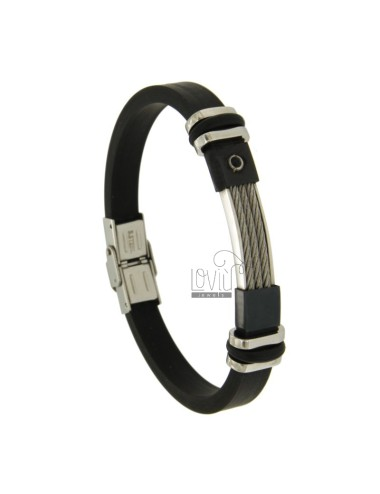 BRACELET RUBBER &39MM 7 WITH WIRE ROPE STEEL AND BLACK ZIRCONE