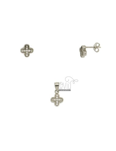 EARRINGS AND SILVER CROSS PENDANT MM 11x8 TIT 925 ‰ AND ZIRCONIA