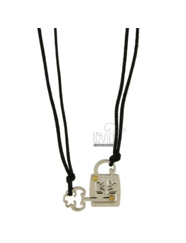 Pendant DIVISIBLE KEY LOCK AND STEEL INSERTS Bilamina BRASS AND GOLD WITH LACES 2 SILK CERATA