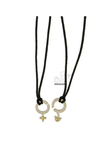 Pendant DIVISIBLE SYMBOL MAN WOMAN AND STEEL INSERTS Bilamina BRASS AND GOLD WITH LACES 2 SILK CERATA