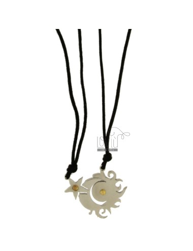 DIVIDED IN STEEL PENDANT SUN MOON STAR AND INSERTS Bilamina BRASS AND GOLD WITH LACES 2 SILK CERATA