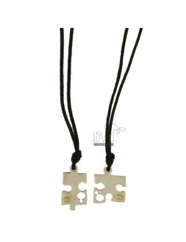 Pendant DIVISIBLE PUZZLE AND STEEL INSERTS Bilamina BRASS AND GOLD WITH LACES 2 SILK CERATA