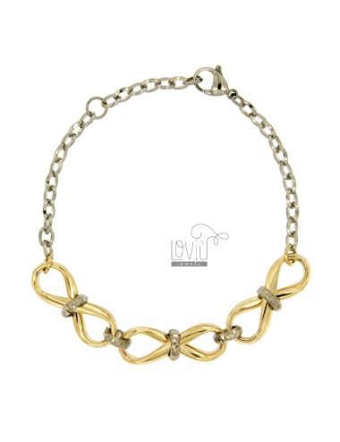 BRACELET WITH BRONZE 3 INFINITE MM 10x28 ROLLED GOLD