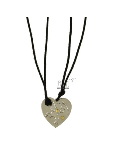 Pendant DIVIDED HEART CUPID AND STEEL INSERTS Bilamina BRASS AND GOLD WITH LACES 2 SILK CERATA