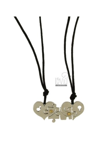 Pendant DIVIDED HEART PUZZLE AND STEEL INSERTS Bilamina BRASS AND GOLD WITH LACES 2 SILK CERATA