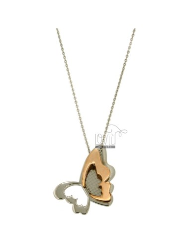 PENDANT BUTTERFLY MM 35x22 STEEL TWO TONE ROSE GOLD PLATED CHAIN WITH CABLE 50 CM