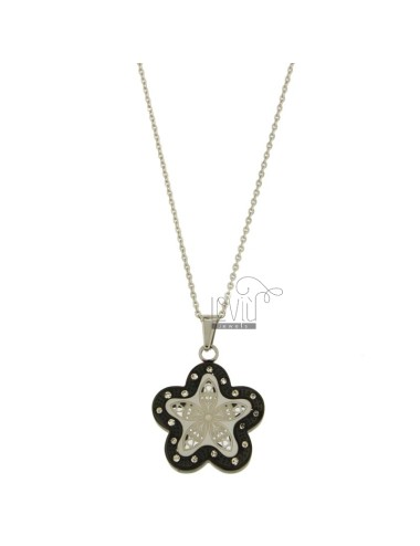 CHARM FLOWER 27X23 MM STEEL TWO TONE PLATED RUTHENIUM AND ZIRCONIA WITH CHAIN CABLE 50 CM
