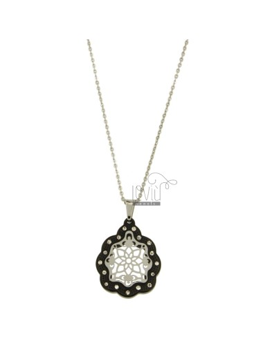 CHARM FLOWER MM 25x22 STEEL TWO TONE PLATED RUTHENIUM AND ZIRCONIA WITH CHAIN CABLE 50 CM
