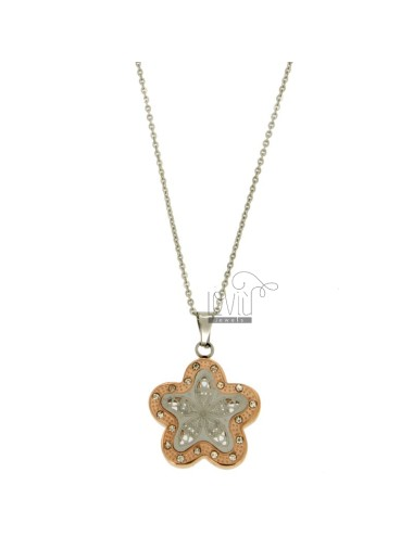 CHARM FLOWER 27X23 MM STEEL TWO TONE GOLD PLATED ROSE AND ZIRCONIA WITH CHAIN CABLE 50 CM
