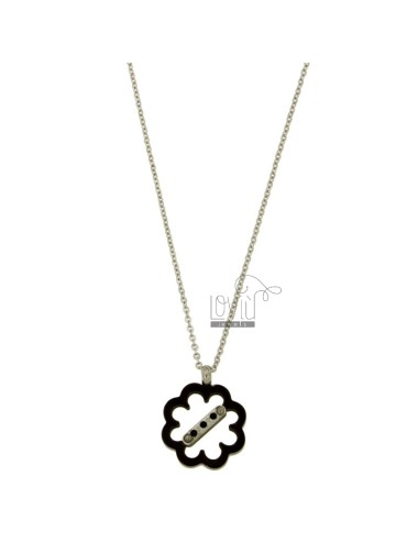 FLOWER PENDANT IN STEEL AND ZIRCONIA RUTENIO PLATED CHAIN WITH CABLE 50 CM