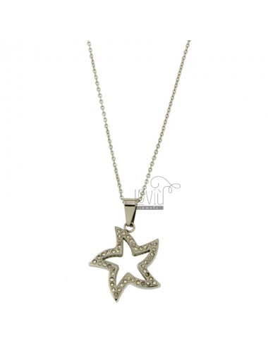 Pendant STELLA 23X25 MM STEEL AND ZIRCONIA WITH CHAIN CABLE 50 CM