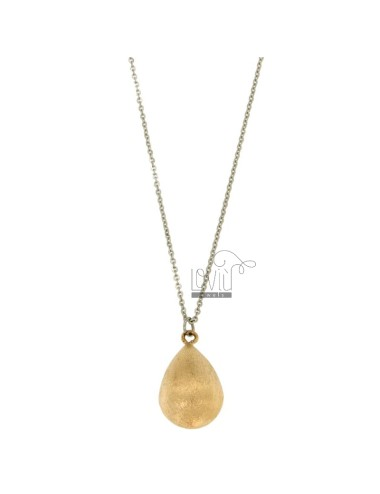 PENDANT DROP MM 26X14 STEEL ROSE GOLD PLATED WITH CABLE CHAIN 50 CM