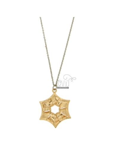 CHARM STAR MM 32x25 STEEL ROSE GOLD PLATED WITH CABLE CHAIN 50 CM