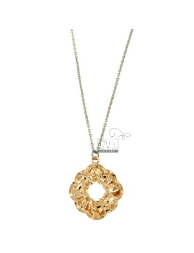 CHARM FLOWER MM 30x25 STEEL ROSE GOLD PLATED WITH CABLE CHAIN 50 CM