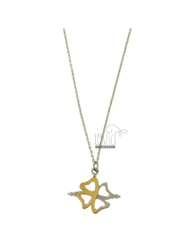 CHARM CLOVER MM 22x26 STEEL TWO TONE GOLD PLATED WITH CABLE CHAIN 50 CM